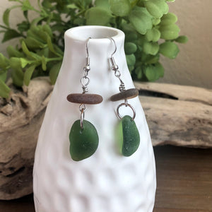 green and brown genuine sea glass earrings
