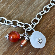 Load image into Gallery viewer, Sea Glass, Carnelian Gemstone and Red Agate Bead Anklet