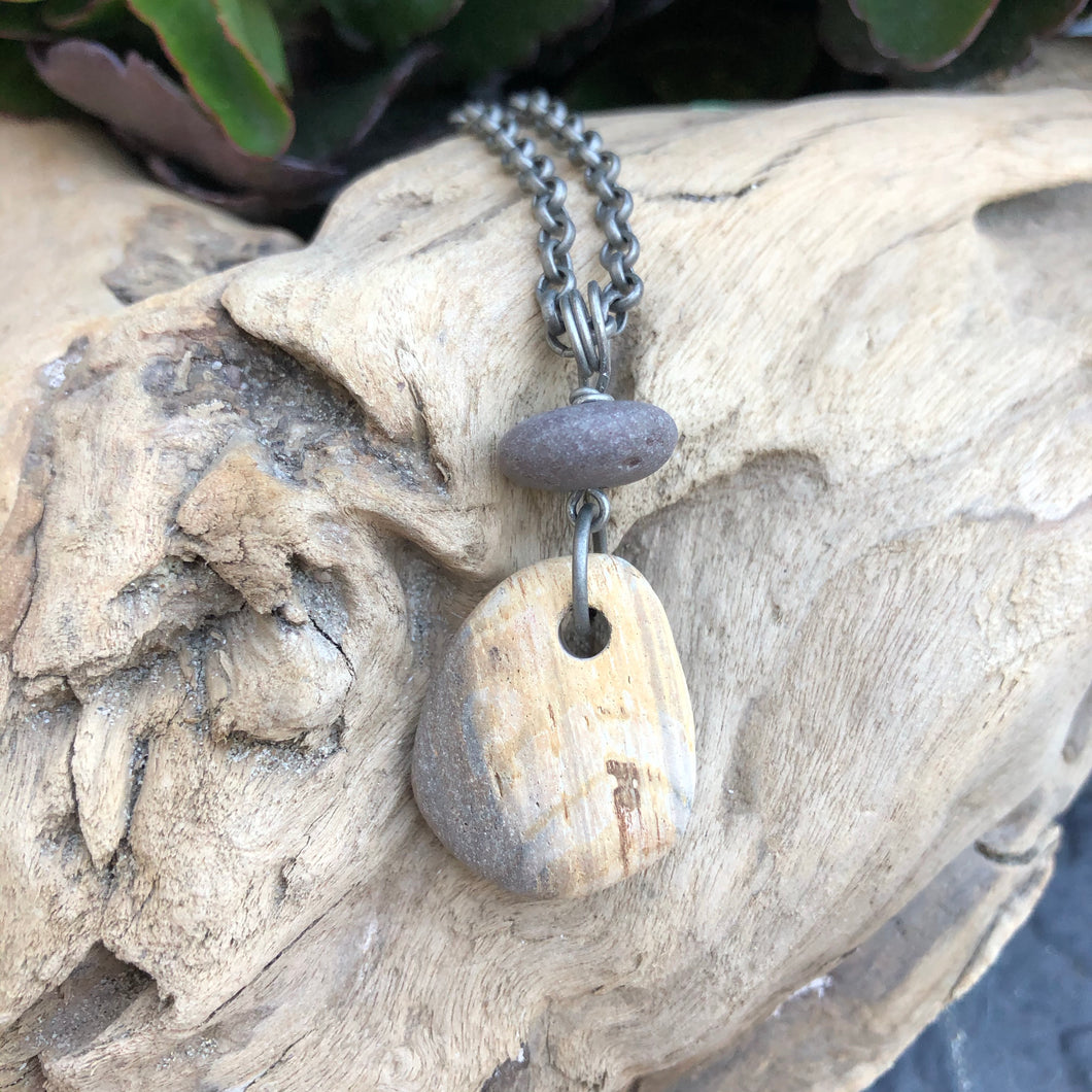 Gorgeous Natural Beach Stone Necklace