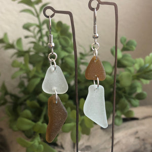 brown and white genuine sea glass earrings