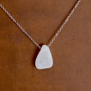 Beautiful White Floating Sea Glass Pendant