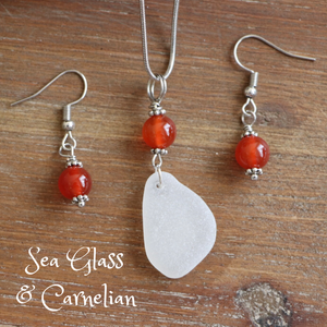 Sea Glass and Carnelian Necklace & Earrings Set