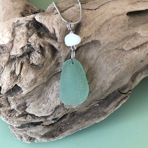 Pretty Opaque White and Seafoam Green Genuine Sea Glass Pendant Necklace