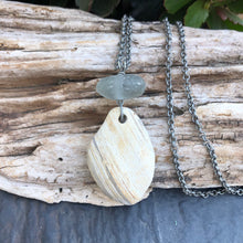 Load image into Gallery viewer, Gorgeous Large Beach Stone and Gray Genuine Sea Glass Pendant Long Necklace