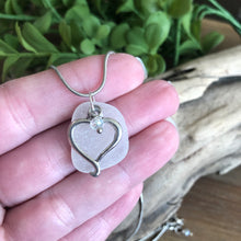 Load image into Gallery viewer, White Sea Glass Pendant with Heart Charm