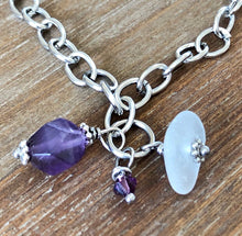 Load image into Gallery viewer, Sea Glass, Purple Amethyst Gemstone and Swarovski Crystal Anklet