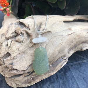 Sage Green and White Genuine Sea Glass Pendant