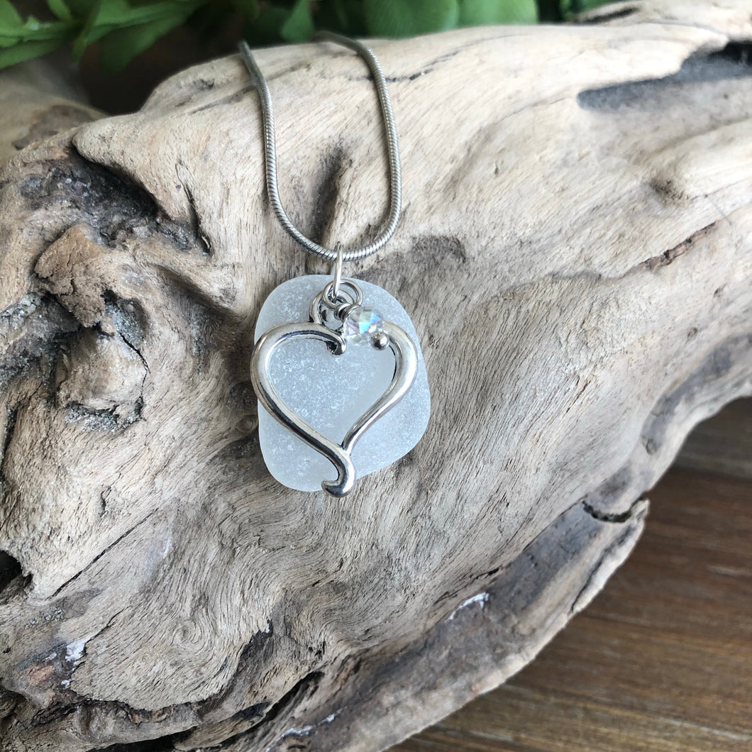 White Sea Glass Pendant with Heart Charm
