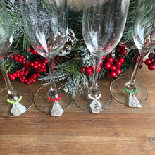 Load image into Gallery viewer, Christmas Tree and Sea Glass Wine Charms