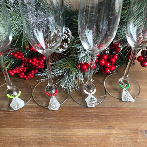 Christmas Tree and Sea Glass Wine Charms