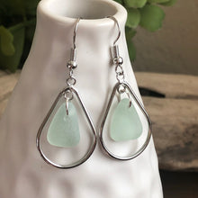 Load image into Gallery viewer, aqua blue genuine sea glass silver hoop earrings