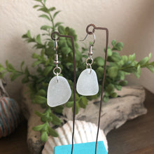 Load image into Gallery viewer, white genuine sea glass earrings