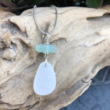 Load image into Gallery viewer, Gorgeous Aqua Blue and White Sea Glass Pendant