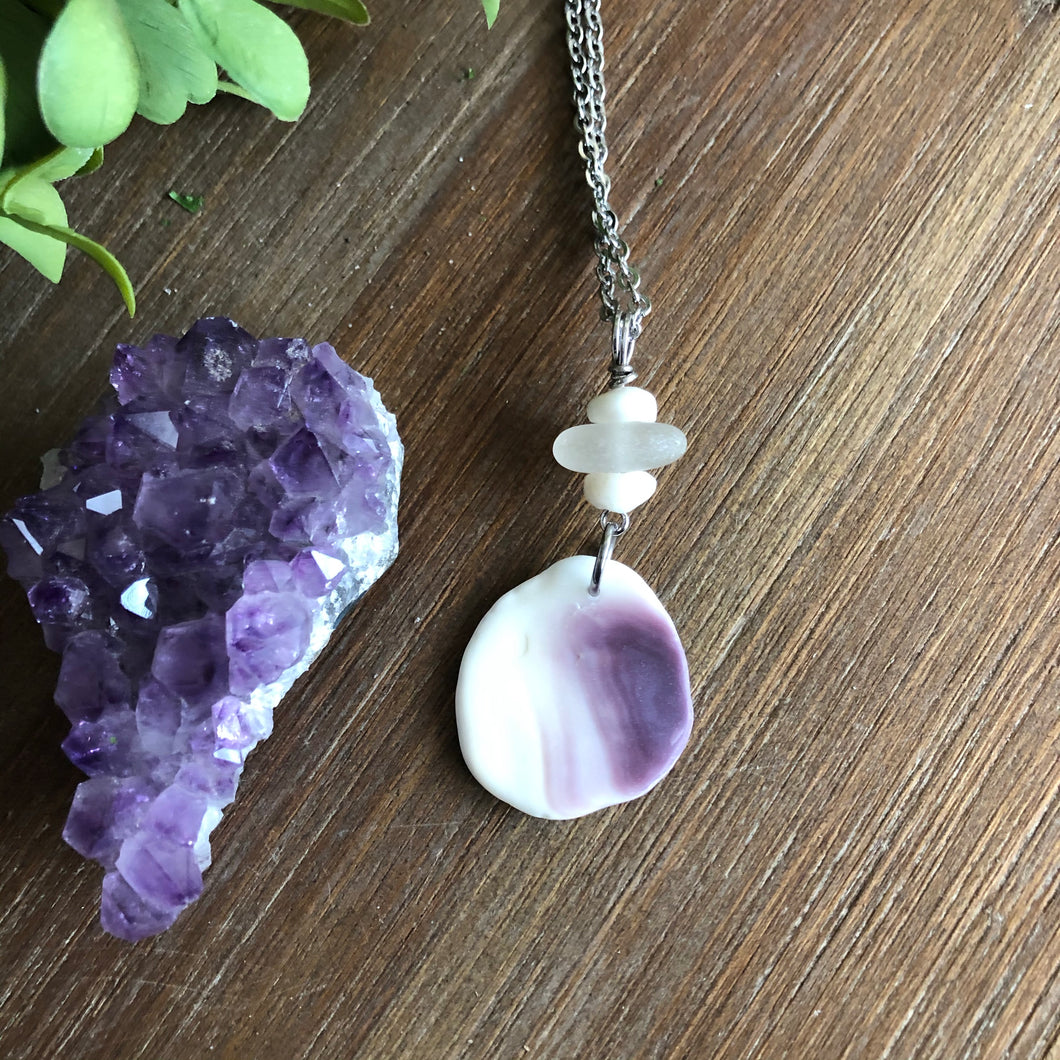 Gorgeous Wampum Sea Glass and Puka Shell Pendant