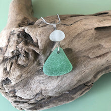 Load image into Gallery viewer, Pretty White and triangle Seafoam Green Genuine Sea Glass Pendant Necklace