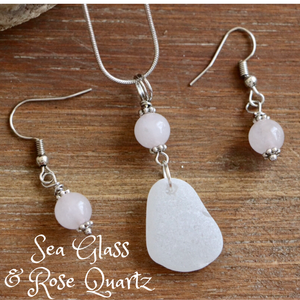 Sea Glass and Rose Quartz Necklace & Earrings Set