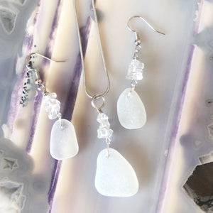 Gorgeous Quartz and White Sea Glass Pendant