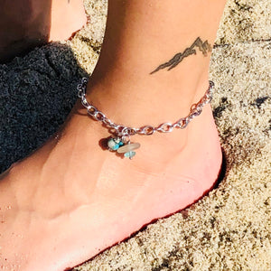 Sea Glass, Swarovski Crystal and Glass Pearl Anklet