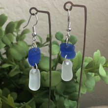 Load image into Gallery viewer, cobalt Blue and White Genuine Sea Glass Earrings