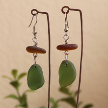 Load image into Gallery viewer, green and brown genuine sea glass earrings