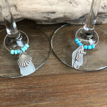 Load image into Gallery viewer, Beachy Sea Glass Wine Charms