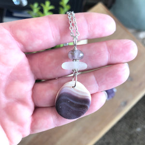 Gorgeous Wampum Pendant with Amethyst and Sea Glass
