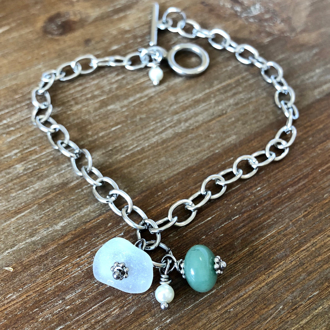 Sea Glass and Aventurine Gemstone Anklet
