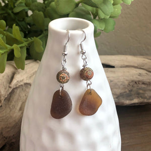 brown sea glass agate earrings