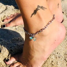 Load image into Gallery viewer, Sea Glass and Rhodonite Gemstone Anklet