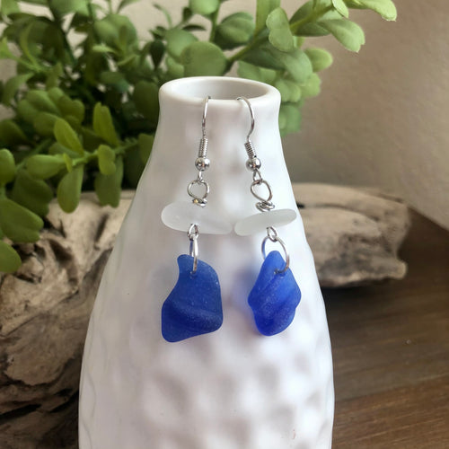 cobalt Blue and White Genuine Sea Glass Earrings