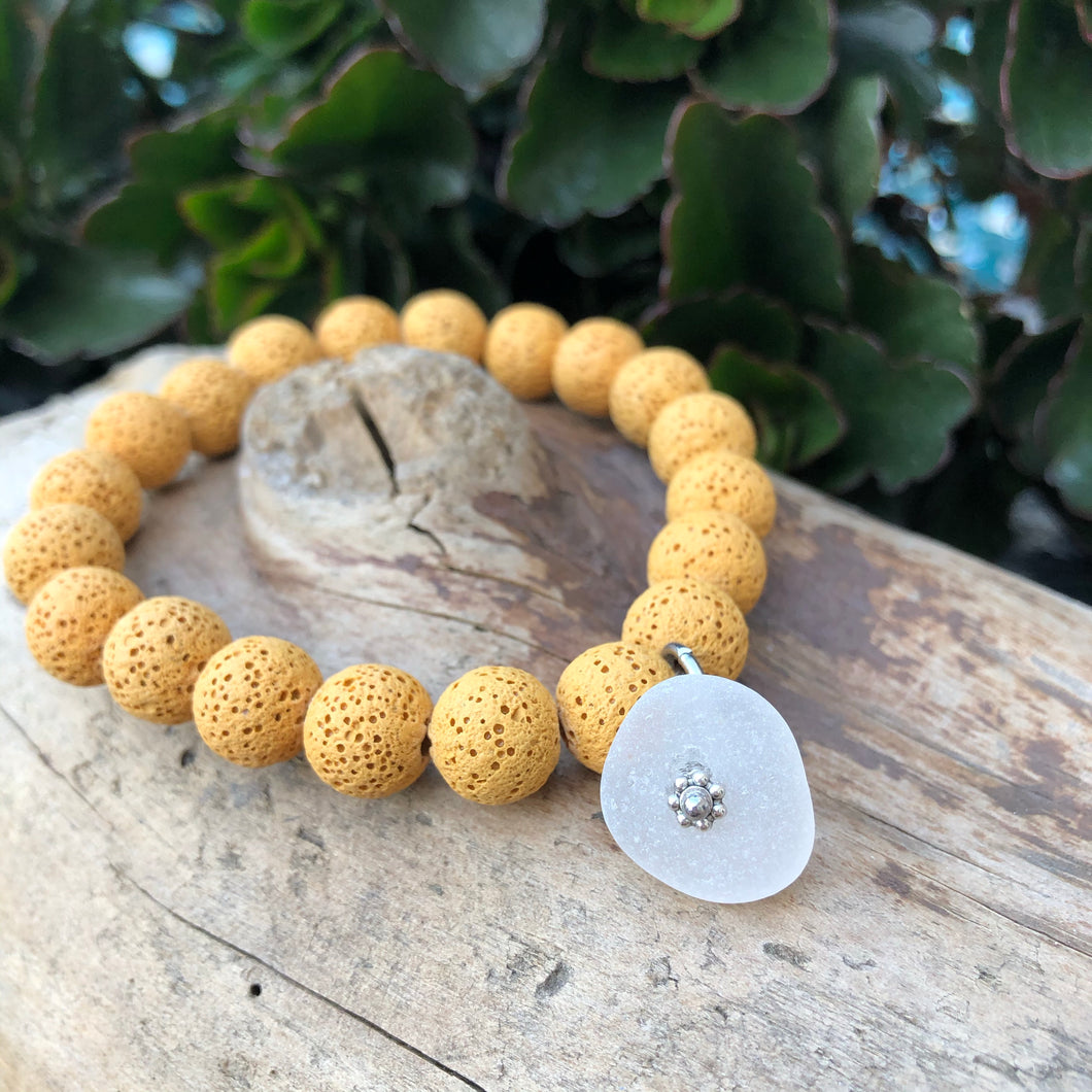 Yellow Lava Bead Bracelet with Genuine Sea Glass