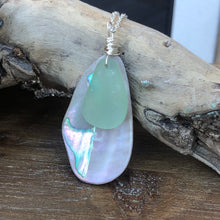 Load image into Gallery viewer, Large Gorgeous Abalone and Seafoam Green Seaglass necklace