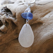 Load image into Gallery viewer, Gorgeous Quartz, Cornflower Blue and White Sea Glass Pendant