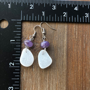 Beautiful Purple Amethyst and White Genuine Sea Glass Earrings