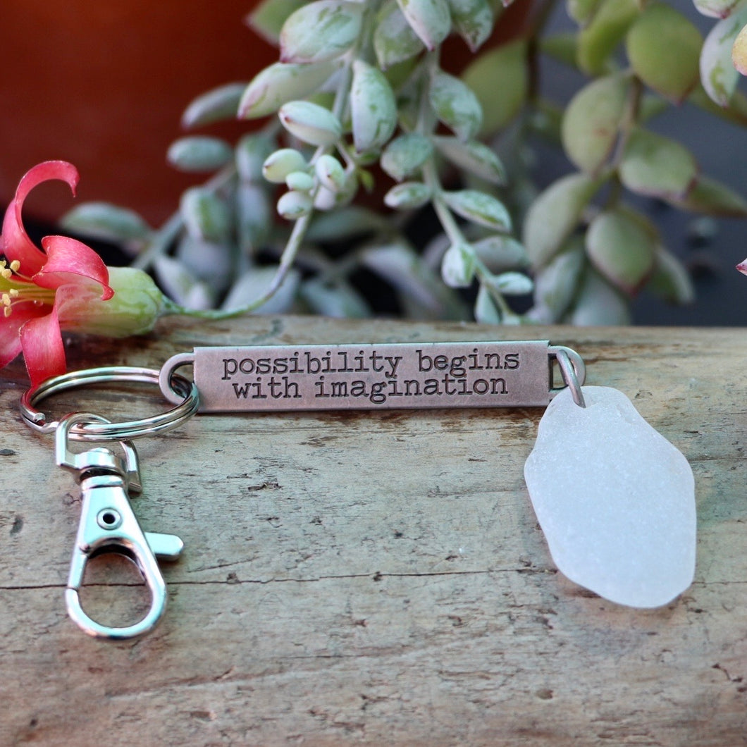 Inspirational keychain/purse charm with Genuine Seaglass