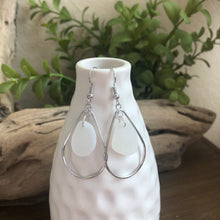 Load image into Gallery viewer, White Genuine Sea Glass Hoop Earrings