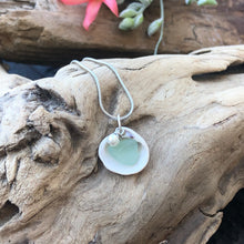 Load image into Gallery viewer, Dainty Sea Foam Green Seaglass and Shell Necklace