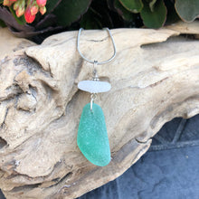 Load image into Gallery viewer, Rare Turquoise Blue and White Genuine Sea Glass Pendant