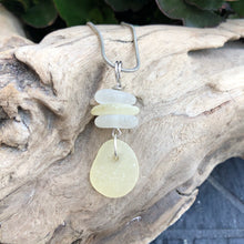 Load image into Gallery viewer, Gorgeous Rare Stacked Genuine Yellow and White Sea Glass Pendant