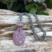 Load image into Gallery viewer, Gorgeous Rare Wine Colored Natural Beach Stone Long Necklace