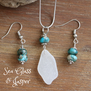 Sea Glass and Jasper Necklace & Earrings Set