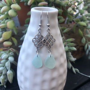Long Dangle Light Aqua Blue Genuine Sea Glass Earrings