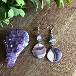 Gorgeous Wampum Earrings with Amethyst and Sea Glass