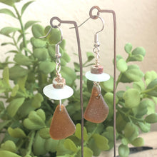 Load image into Gallery viewer, Jasper, Light Aqua and Brown Genuine Sea Glass Earrings