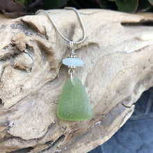 Load image into Gallery viewer, Sage Green and White Genuine Sea Glass Pendant