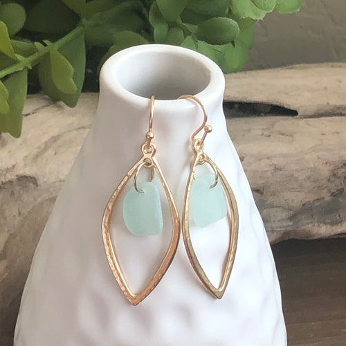 aqua blue genuine sea glass gold earrings