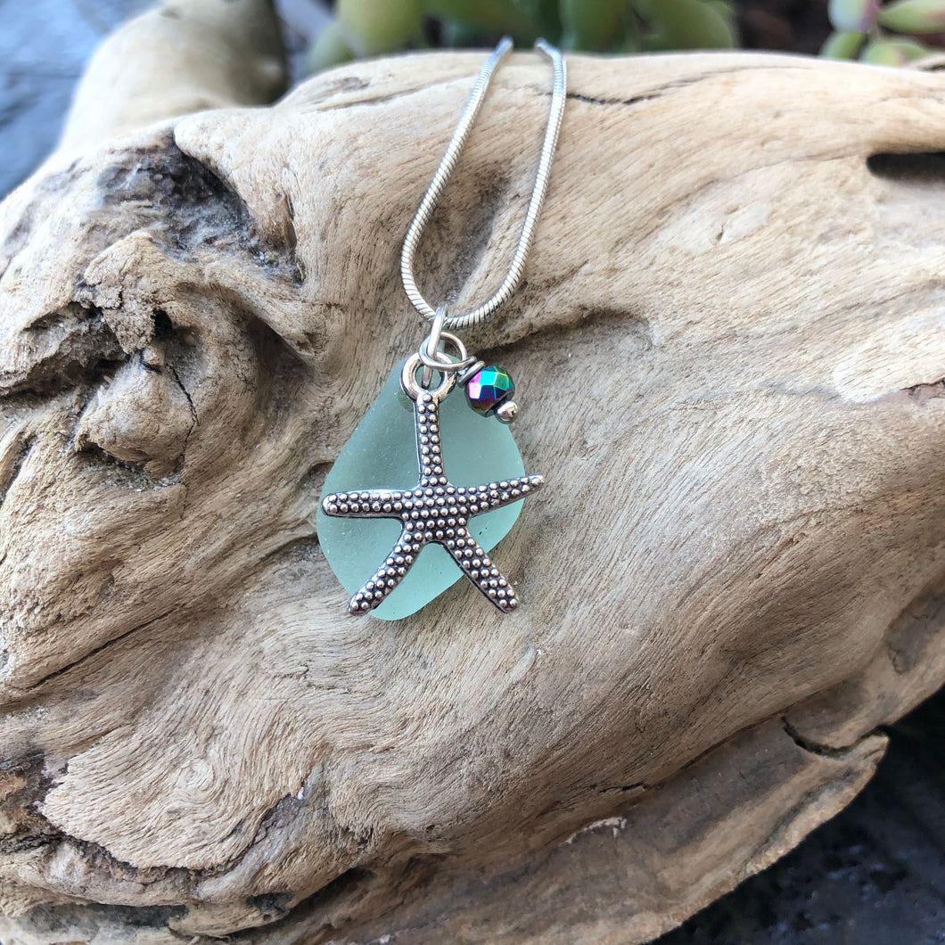 Gorgeous Sea Foam Green Sea Glass Pendant with starfish charm and hematite bead