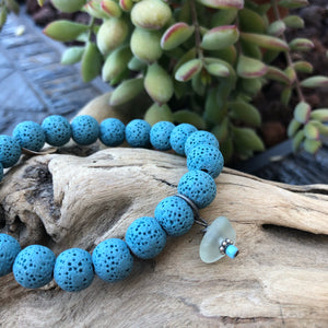 Blue Lava Bead Bracelet with Genuine Sea Glass