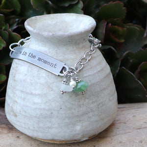Inspirational Sea Glass and Aventurine Gemstone Bracelet