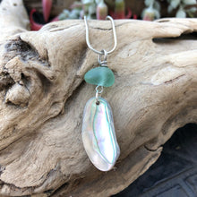 Load image into Gallery viewer, Gorgeous Abalone and Aqua Seaglass necklace